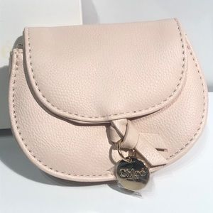 Chloe Small Pouch Blush Pebbled Faux Leather Charm